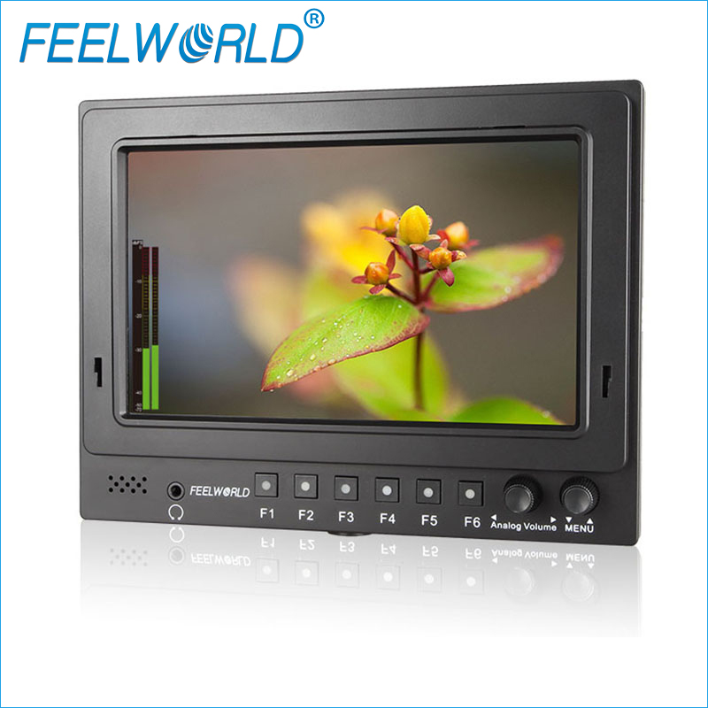 FW768 S/O/P 7 1024*600 pixels Field Monitor with 3G-SDI HDMI Input Peaking Focus Histogram False Colors Zebra Exposure Monitors