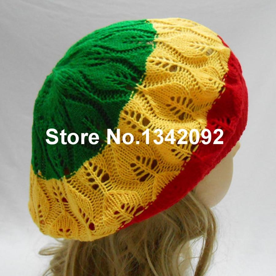 ad958843e7e99 Rasta Tam Beret Hat Crochet Knit Reggae Marley Jamaica Rastafari Slouchy  Dreadlock Cap Red Yellow Green-in Berets from Apparel Accessories on  Aliexpress.com ...