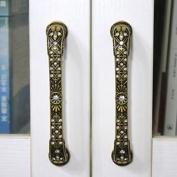 96mm 128mm European retro style kitchen cabinet door handle fashion crystal drawer cupboard pull knob bronze antique iron handle