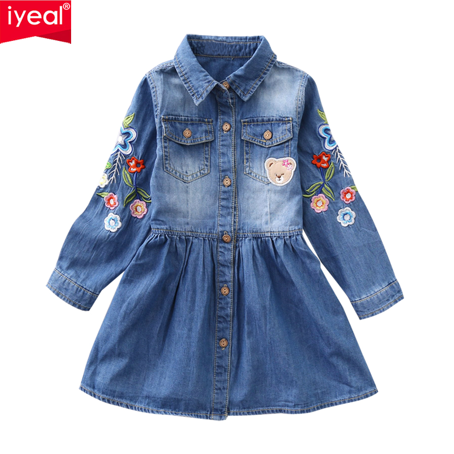 IYEAL New Girl Dress 2018 Spring Long-sleeved Flower Embroidery Children Denim Dresses Autumn Kids Girls Clothes for 3-8 Years children s spring and autumn girls bow plaid child children s cotton long sleeved dress baby girl clothes 2 3 4 5 6 7 years