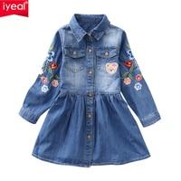 IYEAL New Girl Dress 2018 Spring Long Sleeved Flower Embroidery Children Denim Dresses Autumn Kids Girls