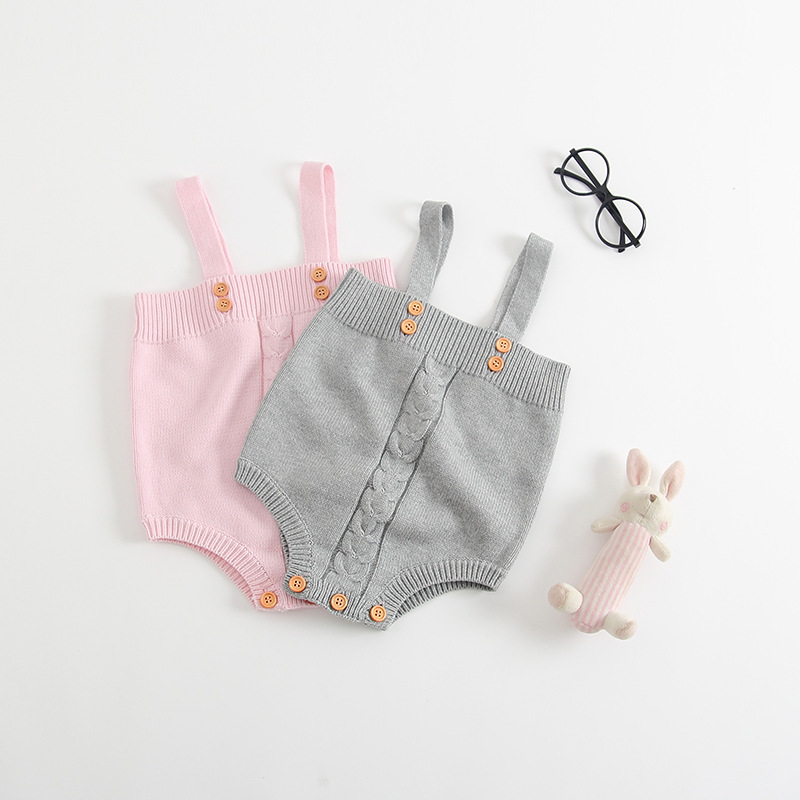 Pure Cottons Baby Girl Onesie Cable Knit Newborn Boys Body Suits Autumn Strap Sleeveless Infant Jumpsuits Children Solid Clothes