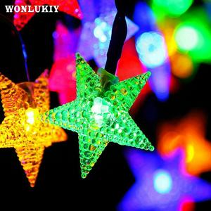 12 m 22 m solar led string light five point star 5 m waterproof 8 modes fairy christmas