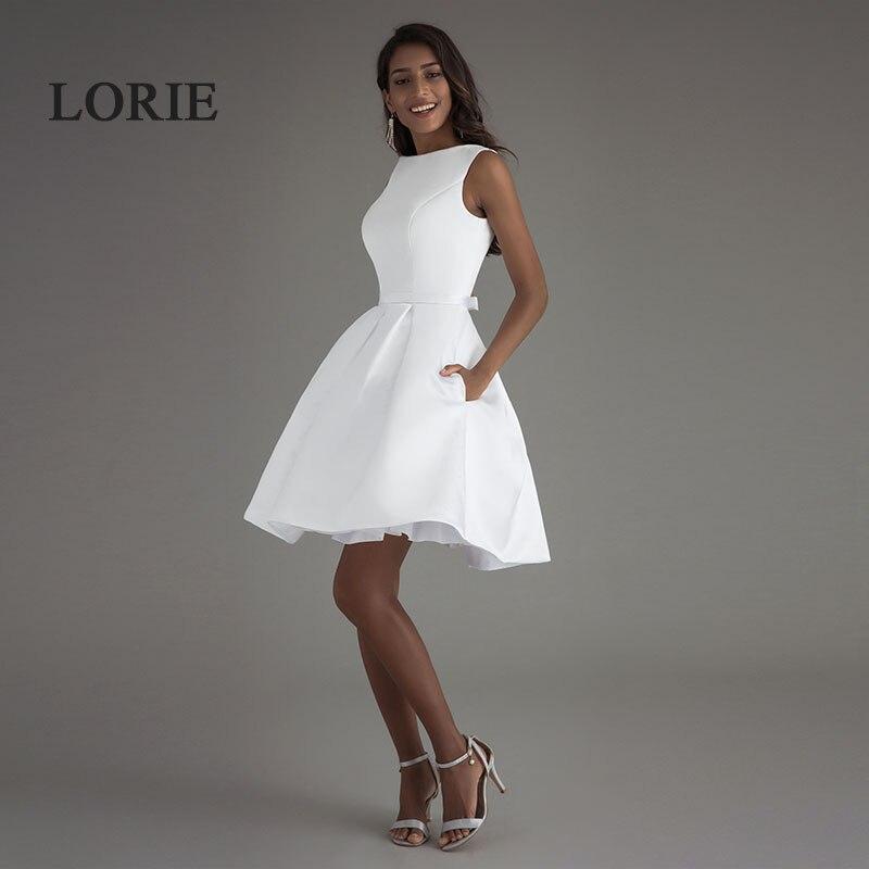 LORIE Mini Short Beach Wedding Dresses 2019 Vestido Noiva Praia Simple White Real Photo Backless A