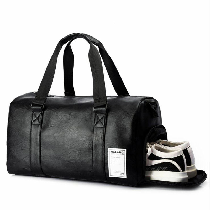 Us 24 38 44 Off Black Gym Bag Men Leather Duffle Women Independent Shoe House Sport Crossbody Pu Travel Bags Hand Luggage For In