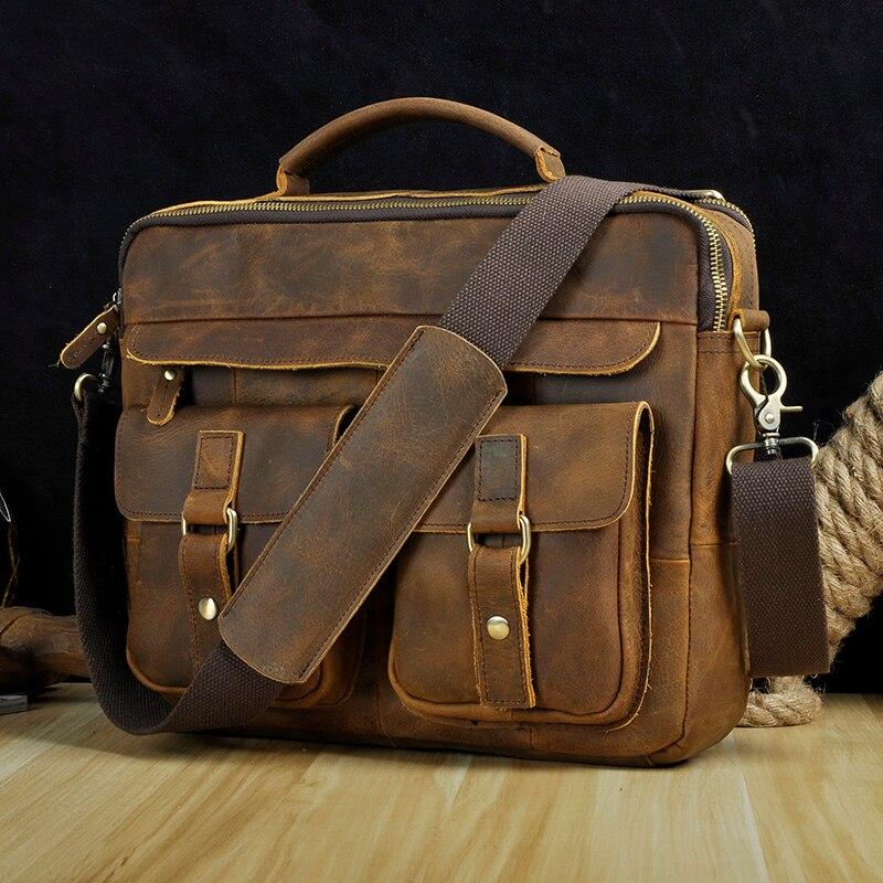 """HTB1TfzQXyHrK1Rjy0Flq6AsaFXaN Le'aokuu Men Real Leather Antique Style Coffee Briefcase Business 13"""" Laptop Cases Attache Messenger Bags Portfolio B207-d"""