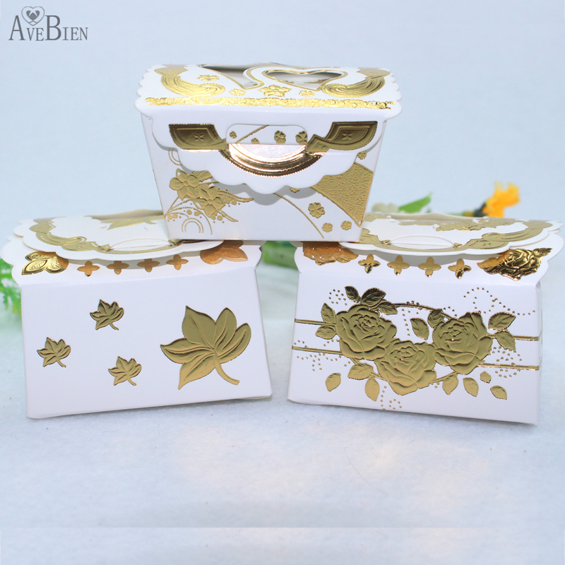 Avebien 50pcs candy box gold flower party decoration sweet for Application box decoration