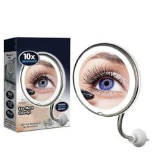 Регулируемый 360 Поворотный Макияж Зеркало 10x увеличительный, светодиодный освещенные гибкие изогнутый настенный ванная комната зеркало