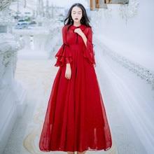 CBAFU red dot chiffon party dress women flare sleeve peter pan collar dress  vestidos ce4deb280
