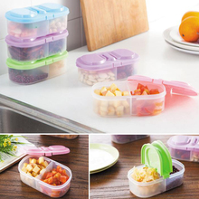 900ml Plastic Food Storage Box 2 Lattices Sealed Crisper Grains Tank Storage Kitchen Sorting Food Storage Box Container