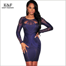 KASY Evening Party Blue Lining Bodycon Lace Dress 2017 Winter Celebrity Clubwear Full Sleeve Patchwork Tunic Mini Dresses jurk
