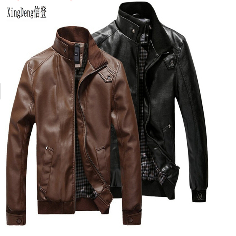 XingDeng PU Leather Stand Neck Zipper Jackets Men Winter Loose Casual Overcoats Male Fashion Top Clothes Plus Size 3XL