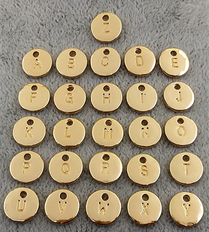 Tag Charms Stamp-Initial Jewelry-Making Alphabet Letter Gold-Color Silver Double-Side title=