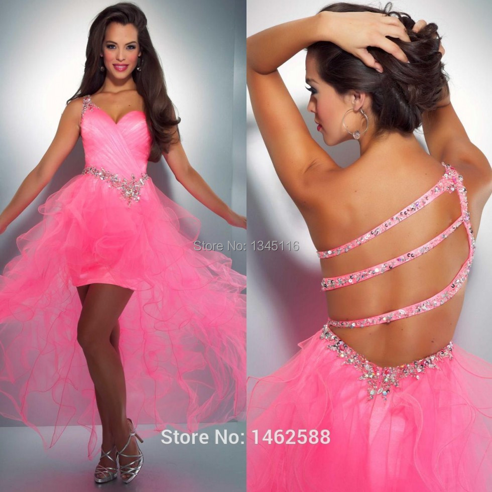 Light Pink High Low Prom Dress with Ruffles | Dress images