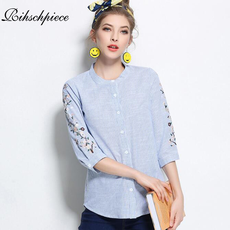 Rihschpiece Plus Size 5XL   Blouse   Women Embroidery Vintage Women   Blouses     Shirts   Fashion Long Sleeve Laides Top RZF1229