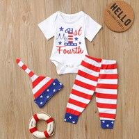 61a51b805 3 piezas bebé niños niñas carta 4th DE JULIO mameluco pantalones sombrero  trajes conjunto recién nacido Ropa Kiz silicona Giyim ropa de verano. 3Pcs  Baby ...