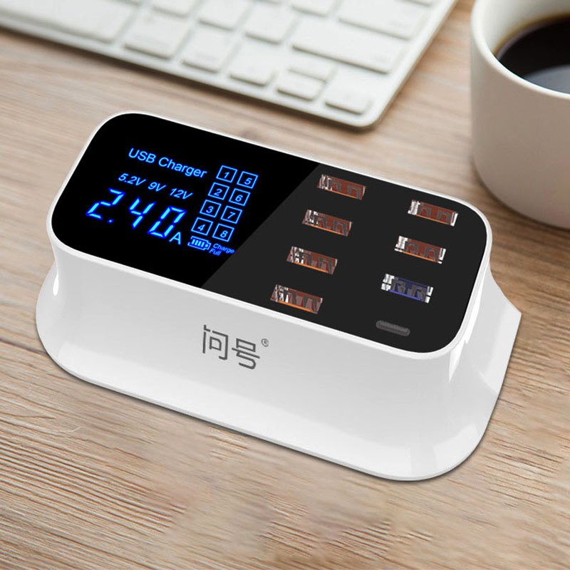 8 Port USB Fast Charger TYPE C & QC 3.0 Quick Charge Socket Wall Phone Charger for iPhone 5 6 7 8 X Xs XR Samsung S7 S8 S9 Plus-in Mobile Phone Chargers from Cellphones & Telecommunications
