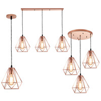 Nordic Rose Gold Iron cage Led Pendant Lights loft creative E27 hanging Lamp For Living Room Kitchen Led Lustres Home Decor