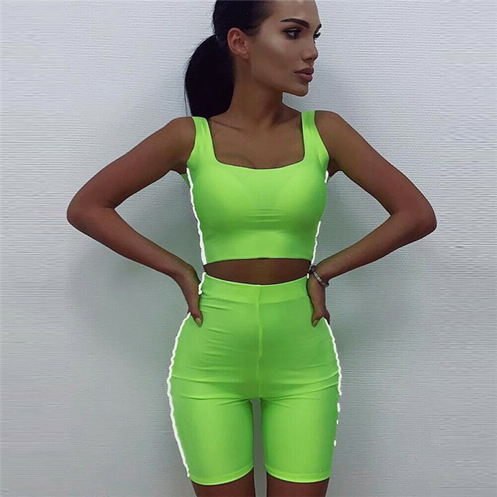 Hot Brand New Women Fluorescent Sports Suit Top Pants Outfit Yoga Workout Tracksuit Female Slim Fashion Outfit Clothes 4 Colors