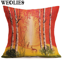 45X45cm Oil Painting Style Cushion Case Linen Cotton Tree Trunk Printed Pillow Case for Chair Gift Cojines Hot Sale