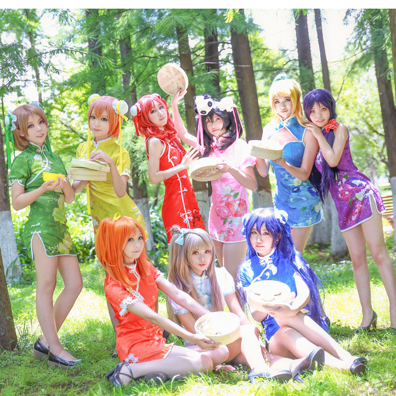 Love Live cos short Chinese dress cheongsam Honoka Kotori Umi Eli Nozomi Maki Rin Hanayo Nico Cosplay Costume Lovelive qipao E