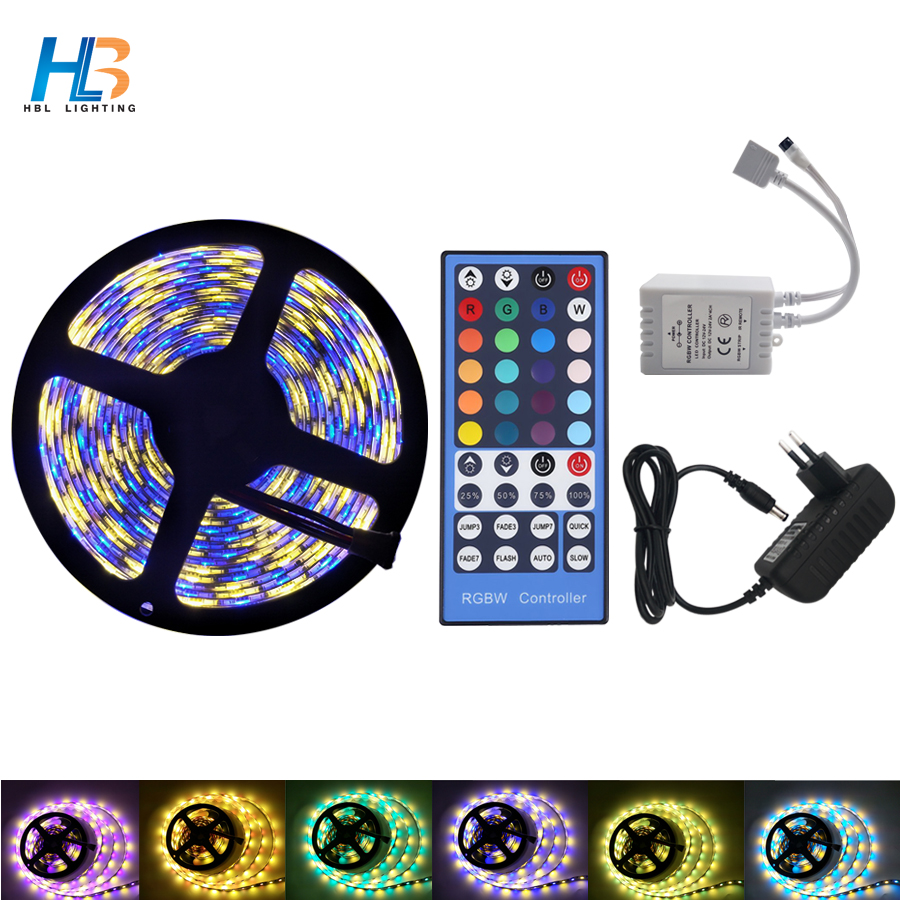 LED Strip DC 12V 5M 300 LED RGBW RGBWW LED Strip Light Flexible led ribbon 10m Diode Tape With Power and Remote Control kit