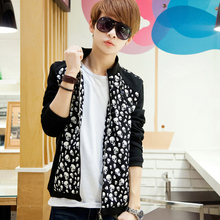 2014 new skull leopard men's leisure jacket casual brand mandarin collar pattern print patchwork spring jacket H2443
