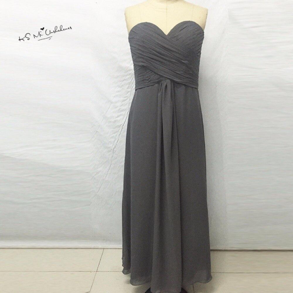 Vestido Longo Silver Gray Long   Bridesmaid     Dress   2017 Vestido de Festa de Casamento Madrinha Chiffon Wedding Party Gowns Wear
