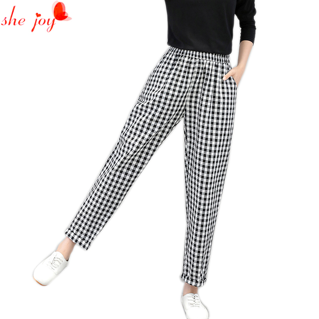 Attractive 2017 Autumn Women Pants Englans Style Plaid White Black Check  AE39