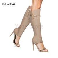 New Bootie meets dress Sandals Women Metal Grommets Boots Women Open Toe Heels Ladies Sandalias Mujer 2019 Fashion Shoes Woman