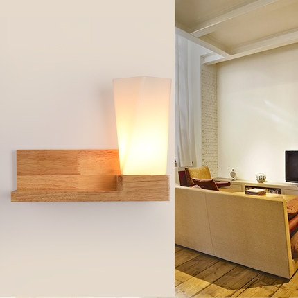 Simple Wooden Glass Wall Lamps Modern LED Wall Light Fixtures For Bedroom Indoor Home Lighting Bedside Wall Sconce modern magie glass ball led wall lamps art deco led wall lights bedroom bedside wall socnces light fixtures home decor luminaire