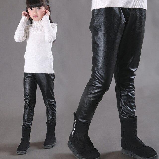 1ff3755fed2b1 Детская одежда для девочек зимние леггинсы из искусственной кожи горячей  девочка Корейский Брюки утепленные плюшевые детские