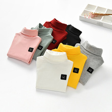 Fall Autumn Children Girl Kids Cotton Long Sleeved Turtleneck T-shirt Embroidered Girls Shirt Pullover Base Tops Tee Child 2-7Y