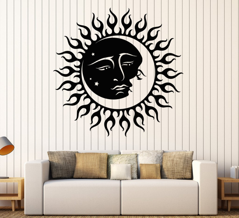 sun and moon star wall stickers vinyl wall decal kids bedroom room decoration wall sticker. Black Bedroom Furniture Sets. Home Design Ideas