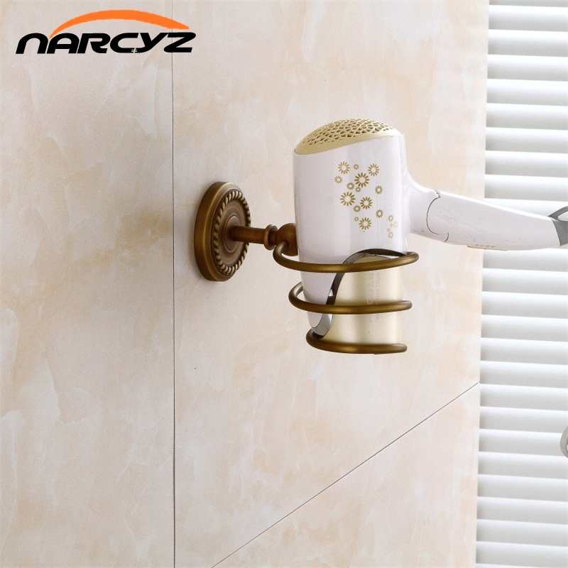 Bathroom Shelves Antique Brass Hair Dryer Holder Rack Wall Shelf Bath Storage Accessories Hair Blow Dryer Holder 9150K hair dryer holder antique brass hair blow dryer holder bathroom shelf rack wall mounted washroom accessories bath stand et 300
