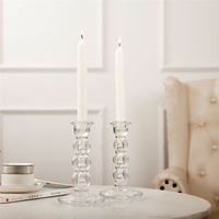 Glass Transparent Candle Holders Stand Wedding Centerpieces Romantic Crystal Candle Holder Bougeoir Wedding Candelabra 50ch037