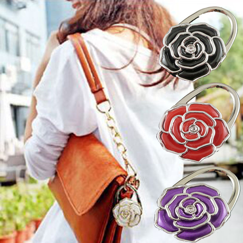 Practical Flower Folding Purse Handbag Bag Accessories Table Hook Hanger Holder fashion crystal folding bag purse handbag hook hanger holder handbag hanger alloy hook clothes hook g1s002bl