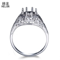 Vintage Fine Jewelry Solitaire Ring 6.5mm to 7mm Round Sterling Silver 925 Semi Mount Engagement Wedding Women Ring Wholesale