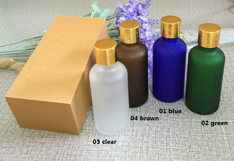 4pcs 50ml High-grade frosted essential oil bottle with wooden box packing gold cap glass bottle,lotion cosmetics powder jar cosmetics 50g bottle chinese herb ligusticum chuanxiong extract essential base oil organic cold pressed