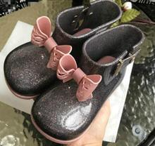Mini Melissa girls sandals cute bowknot rain boots non-slip kids waterproof shoes