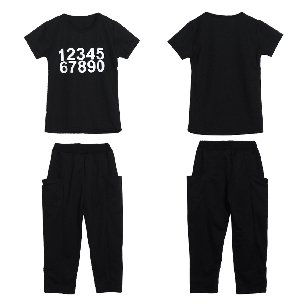 Childrens Clothing Sets Toddler Kids Boys Girls Number Print Short Sleeve Cotton T-shirt Tops Pants Outfit 1 to 6 Years FCI#