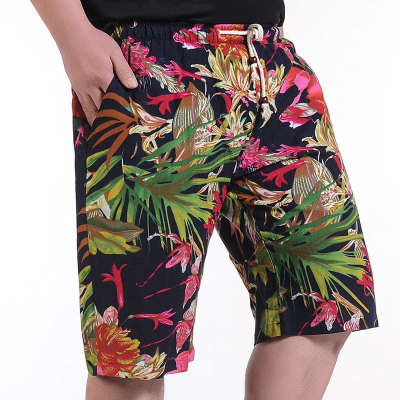 Men's Summer Linen Shorts Men Large Size Casual Shorts New Fashion Male Loose Beach Shorts Floral Casual Shorts Size 8XL