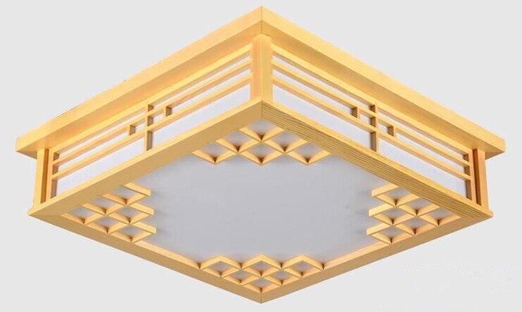Japanese Wood Ceiling Lights LED Lamp E27 Tatami Bedroom Living Room Flush Mount Ceiling Lamp Home Decorative Design Lantern