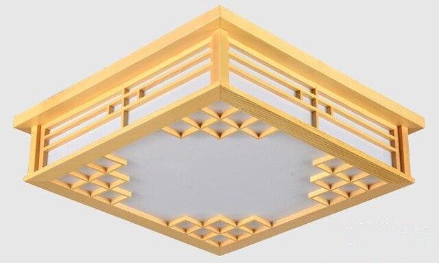 Japonais Bois Plafonniers Led Lampe E27 Tatami Chambre Salon
