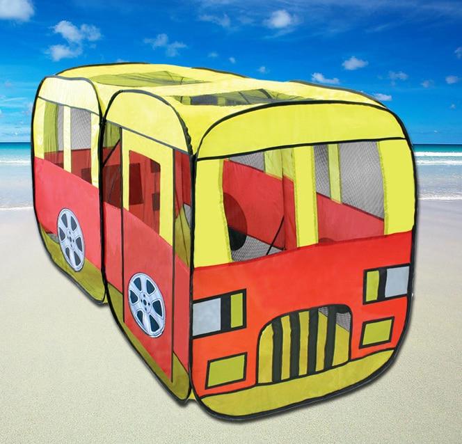 Tente enfant Bus enfant jeu de voiture maisons grand Anti-moustique bébé jouets Ocean Ball piscine tissu pliable 2-4 ans