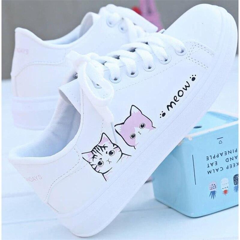 Carton Cat White Shoes