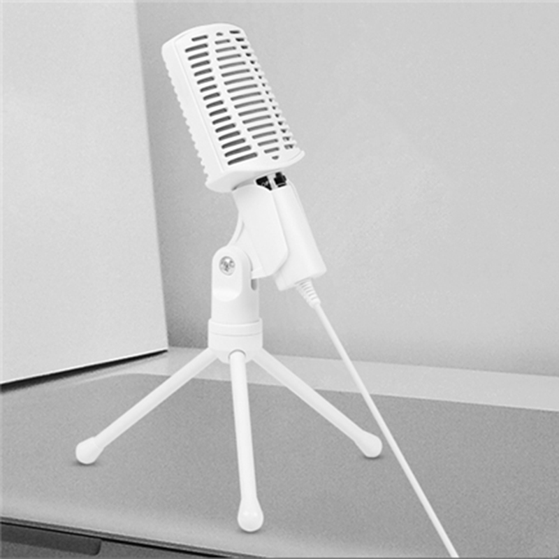 USB Studio Condenser Microphone for Recording Music Sound Foley Audio White Mikrofono for YouTube Videos image