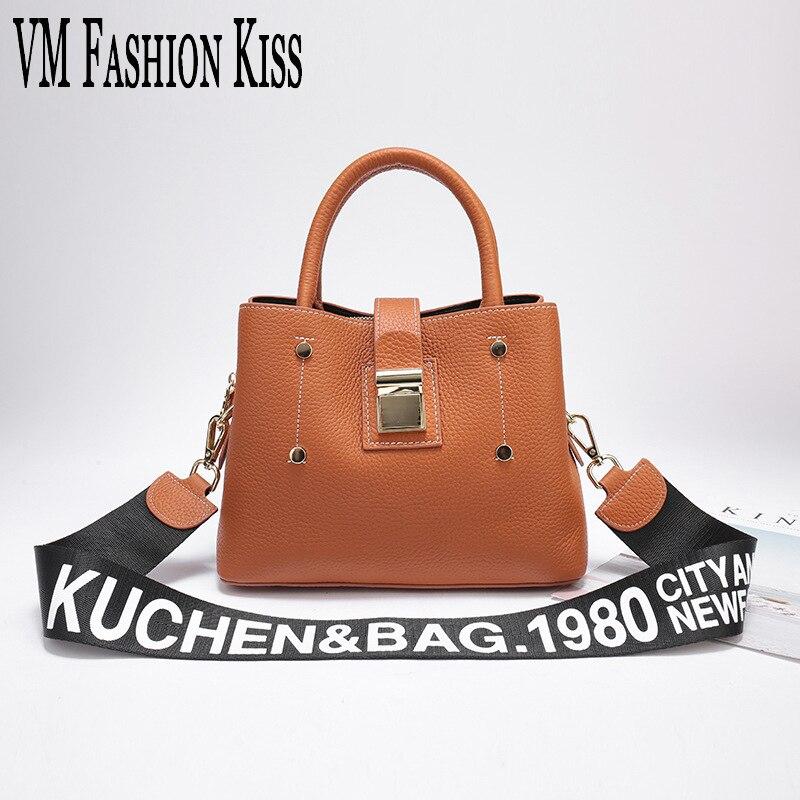 VM FASHION KISS Two Long Shoulder Straps Luxury Handbags Genuine Leather Bags Handbags Black Shoulder Bag Women Menssenger Bags