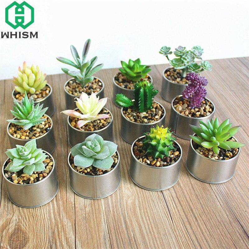 Whism Plastik Rumah Simulasi Lezat Bonsai Buatan Succulent Aloe Kaktus Mini Pot Dengan Besi Pot Untuk Dekorasi Taman