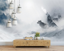 beibehang Custom 3d wallpaper mural nordic abstract fog forest wolf landscape wallpaper for living room papel de parede mural цена и фото